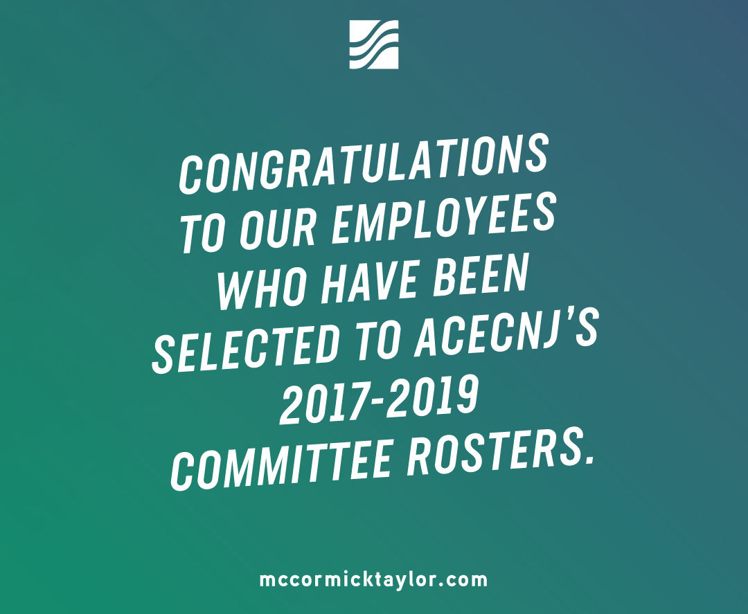 ACECNJ NAMES 12 McCORMICK TAYLOR EMPLOYEES TO MULTIPLE COMMITTEE ROSTERS