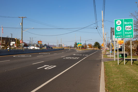 f photo 2 new route 202 northbound bypass lanes separate commercial driveway traffic and through movements from the interior of the circle