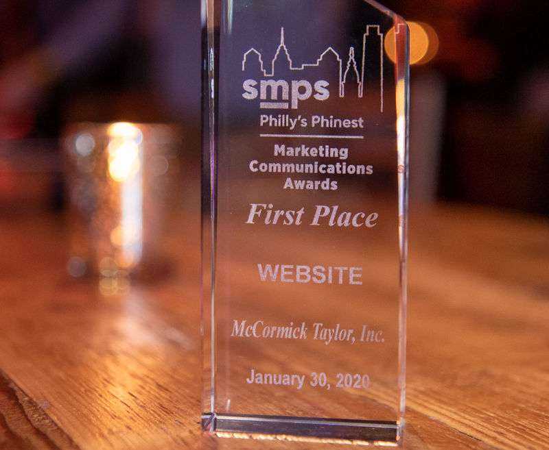McCORMICK TAYLOR'S WEBSITE RECEIVES FIRST PLACE AWARD