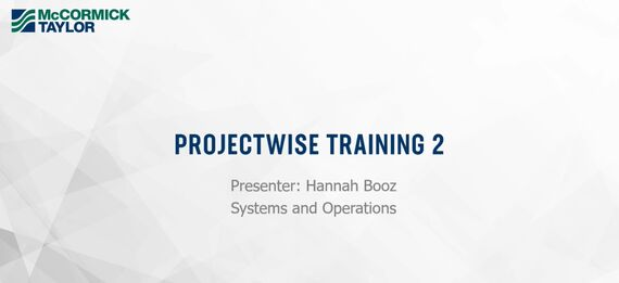 projectwise training 2