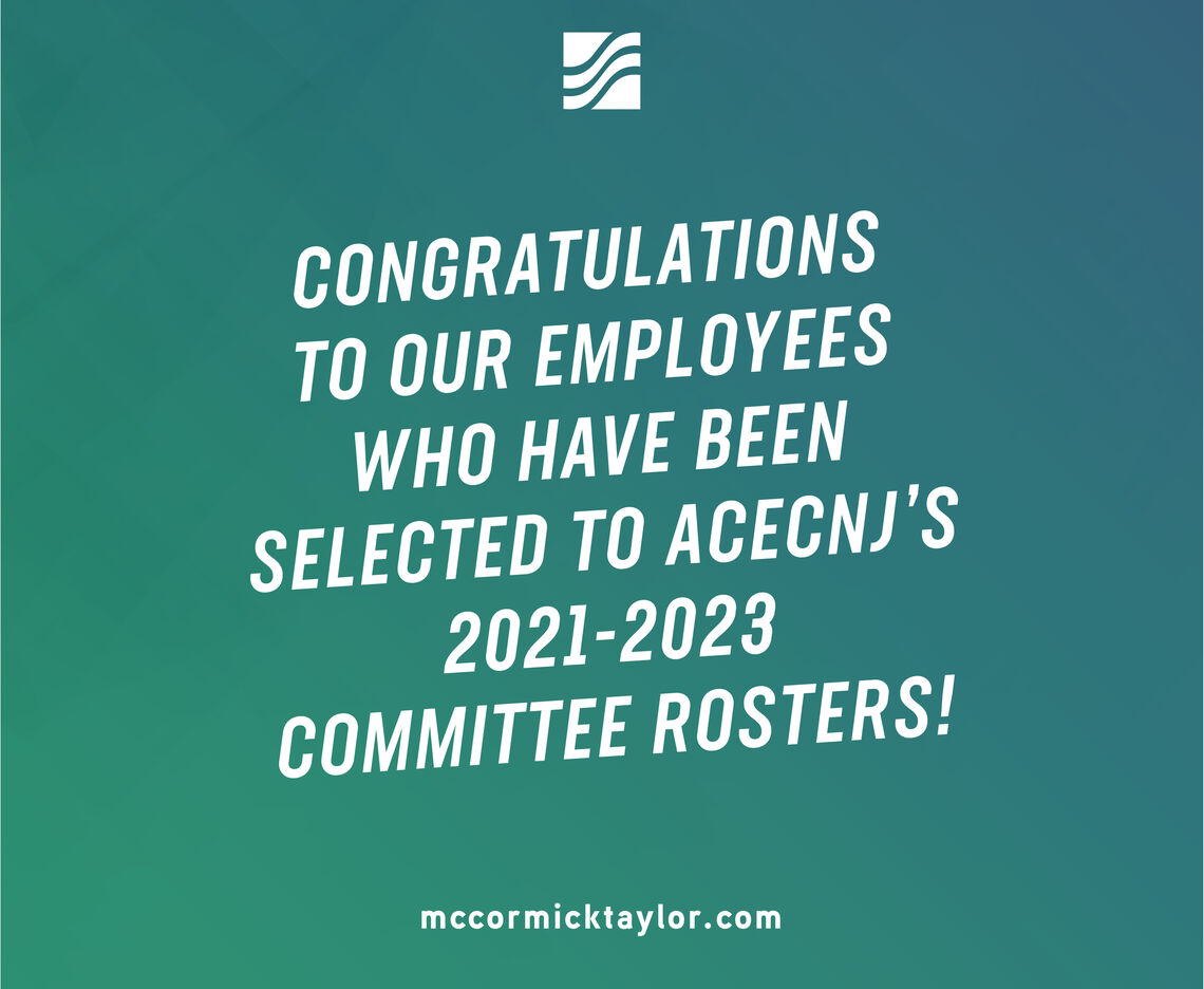 ACECNJ NAMES 7 McCORMICK TAYLOR EMPLOYEES TO MULTIPLE COMMITTEE ROSTERS